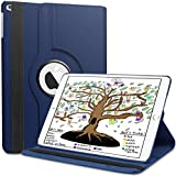 Case for New iPad 2018 / iPad 2017 / iPad Air 2 / iPad Air, 360 Degree Rotating Stand Cover Protection with Auto Sleep/Wake Function, 9.7 inch Swivel Case for Apple iPad 6th 5th Air, Dark Blue