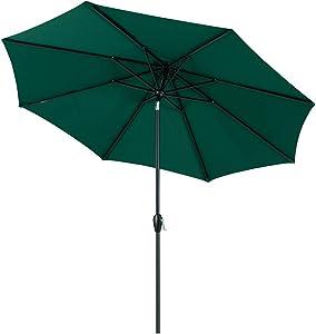 Tempera 10ft Patio Umbrella Outdoor Garden Table Umbrella with Crank and Auto-Tilt Function, 8 Steel Ribs in 200G ForestGreen Olefin