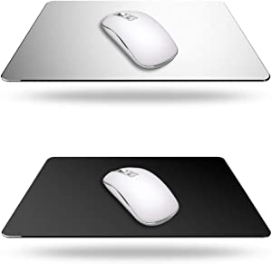 2 Pack Gaming Aluminum Mouse Pad (Silver & Black) Compatible with Magic Mouse, DaKuan Smooth Magic Ultra Thin Double Side Mouse Matfor Fast and Accurate Control(9 inch X 7.1 inch)
