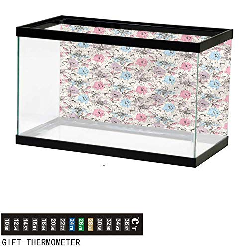 (bybyhome Fish Tank Backdrop Floral,Lily and Poppies Sketch,Aquarium Background,72