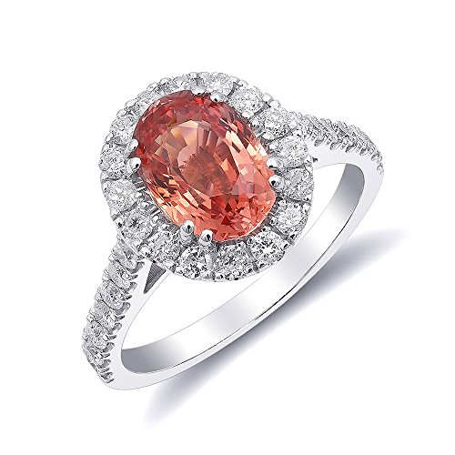 Padparadscha Sapphire - 14K White Gold 2.65ct TGW Certified Padparadscha Sapphire and White Diamond One-of-a-Kind Ring