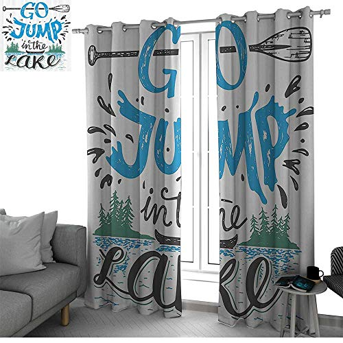 (bybyhome Cabin Decor Patio Door Curtain Panel Home Decoration Vintage Typography Inspiration Quote Lake Sign Canoe Fishing Sports Theme Doorway Curtain Blue Black Green W108 x L96 Inch)