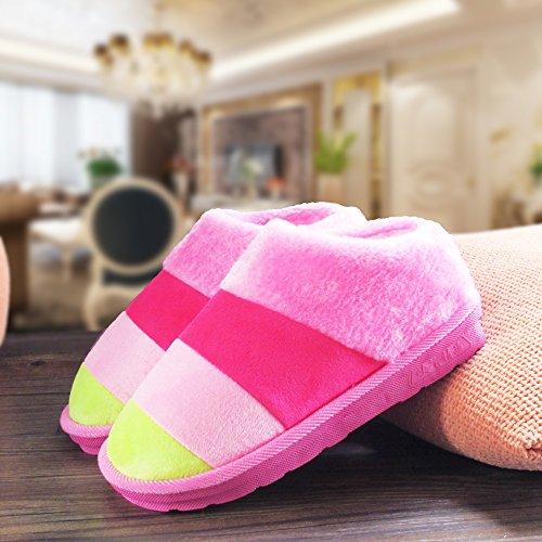 Cotone fankou pantofole pacchetto femmina con spessi inverno coppie uomini e rimanere anti-slittamento inverno caldo cotone trascina e scarpe Indoor ,44/45, rosa