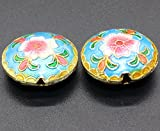 TIDOO Jewelry Chinese Ethnic Style Handmade Oval Enamel Cloisonne Beads for DIY Jewelry Making 2 PCS Flower Design Jewelry Accessories for Bracelet Chain (1# Blue)