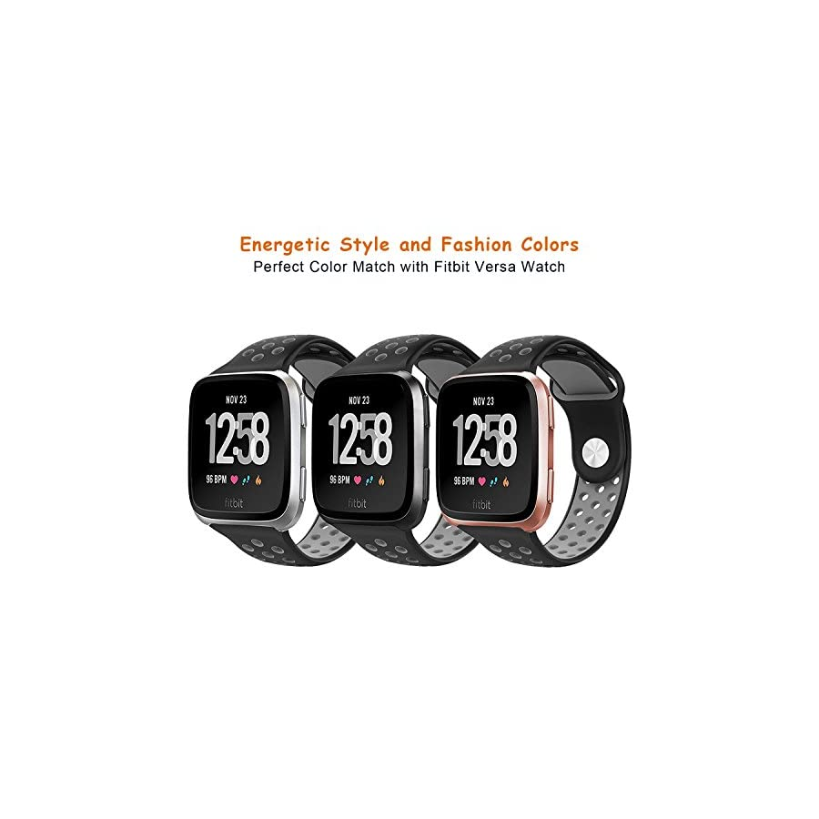 DEKER for Fitbit Versa Bands for Women Men Small Large Wrist, Breathable Soft Fitness Sport Silicone Strap Replacement Accessories Wristbands for Fitbit Versa Smart Watch (Black/Gray, Small)