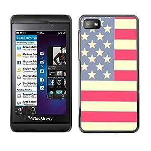 For Blackberry Z10 Case , Flag Stars Stripes Red White Blue - Diseño Patrón Teléfono Caso Cubierta Case Bumper Duro Protección Case Cover Funda