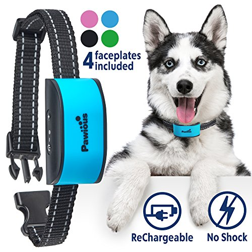 Bark Collar [Upgraded 2019] - Humane No Shock Rechargeable Anti Barking Collar for Small and Medium Dogs - 4 Color Faceplates, No Harmful Prongs for Dog, Sound, Vibration, 7 Sensitivity Levels