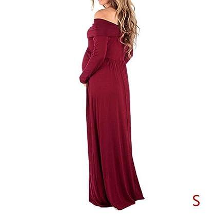 Babysbreath Mujer chica plana hombro manga corta cintura alta Gravida embarazada vestido de maternidad falda robe ropa: Amazon.es: Deportes y aire libre