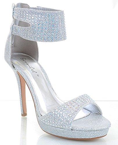 Jeweled Glitter Beaded Anklet Platform Party Heels Sandals