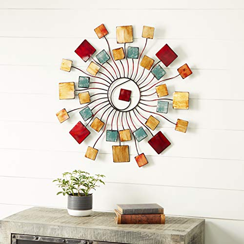 Deco 79 Multicolored Modern Metal Abstract Sunburst Wall Decor, H x 32″ L, Textured Finish, 32″ 32″ L