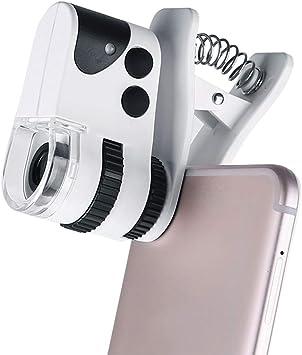 Microscopio Lupa UV smartphone digital USB Clip,Roeam microscopios electrónica bolsillo Ultravioleta con LED Luz portatil teléfono movil Ajustable para gemologia/joyeria/joyero 10-60X/15-50X: Amazon.es: Bricolaje y herramientas
