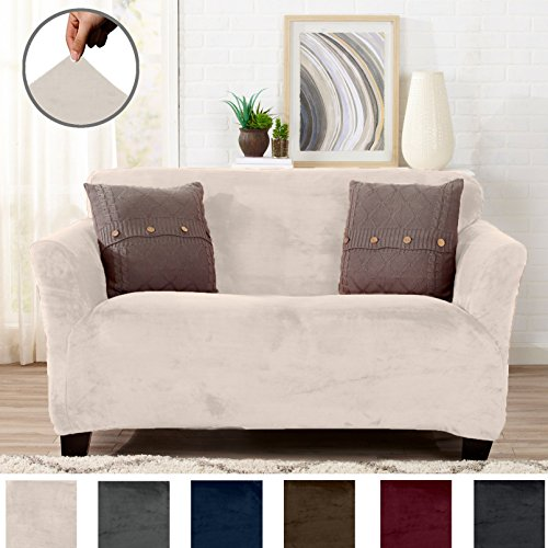 Great Bay Home Modern Velvet Plush Strapless Slipcover. Form Fit Stretch, Stylish Furniture Cover/Protector. Gale Collection by Brand. (Loveseat, Silver Cloud)