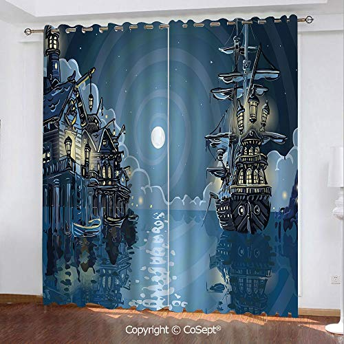 Blackout Curtains,Fantasy Adventure Island Faery Mystery Ships Pirate Cove Bay Swirled Moon Rays Decorative,for Bedroom (2 Panels,51.96x84.64 Inch),Blue White ()