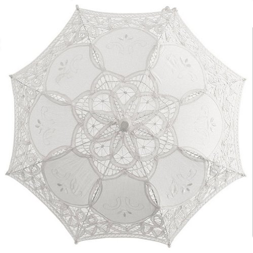 elgian White Lace Wedding Umbrella Sun Parasol Flower Girl Bridal Party Decor by AllHeartDesires (Belgian Lace)