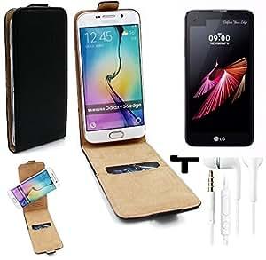 TOP SET: Caso Smartphone para LG Electronics X screen cubierta del estilo del tirón 360°, negro + Auriculares, cubierta del tirón - K-S-Trade   Funda Universal Caso Monedero cubierta del tirón Monedero Monedero