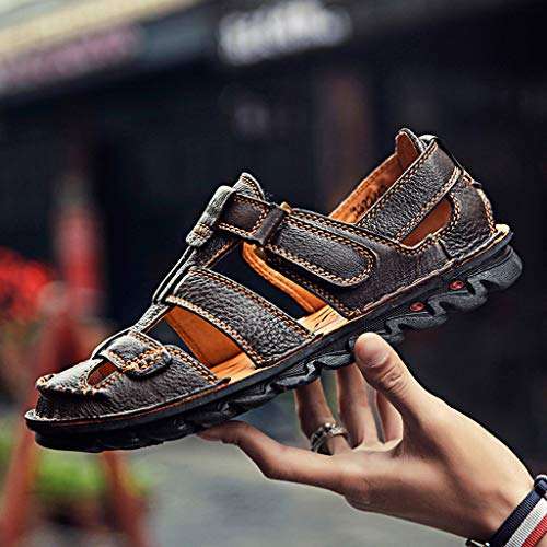 Summer Men's Sandals,Summer Mens Leather Sandals Flats Beach Walking Non-SlipSoft Bottom Casual Shoes by Tronet Sandals (Image #3)