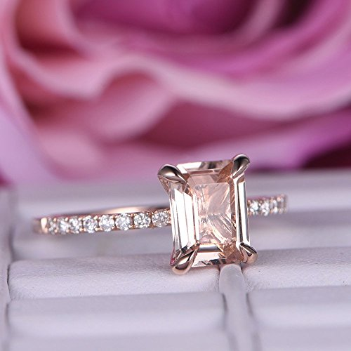 Emerald Cut Morganite Engagement Ring Pave Diamond Wedding 14K Rose Gold 6x8mm by the Lord of Gem Rings