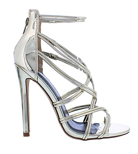 Crossing Straps Stiletto Patina16 Sandals Gold Heel Round Multiple Liliana EwqxtnSvzt