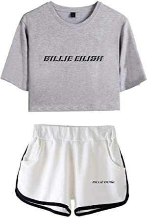 Oliphee Billie Eilish Girls Cool Crop Top T Shirt And Shorts Set Two Pieces Sets Tracksuit Name Gray White M Amazon Ca Clothing Accessories