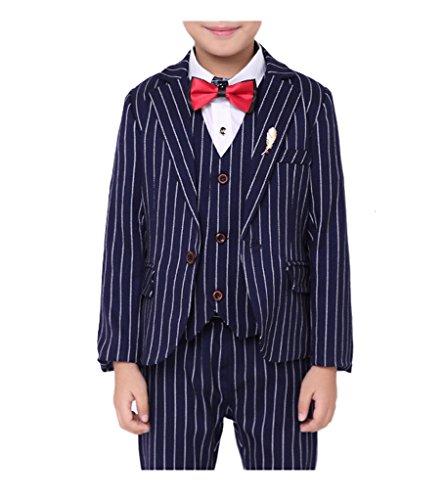 YUFAN Boys Blue Red Coffee 3 Colors Pinstripe Suit Set 3 Pieces Jacket Vest Pants Tuxedo Suits (10, Blue) Blue Pinstripe Tuxedo