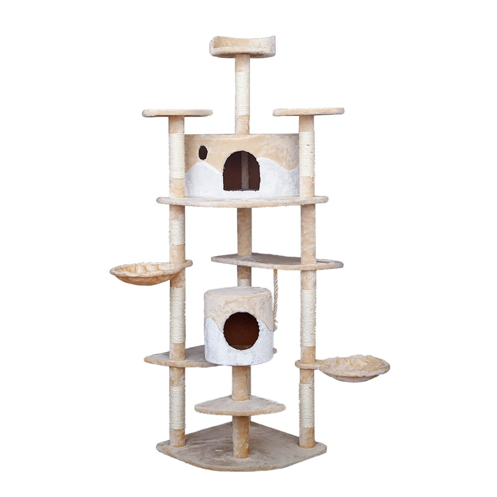 [NEW] PLS Pet Cat Activity Tree Tower, 80 inches, Beige, Sisal-rope Posts for Scratching, Platforms, Towers and Hammock