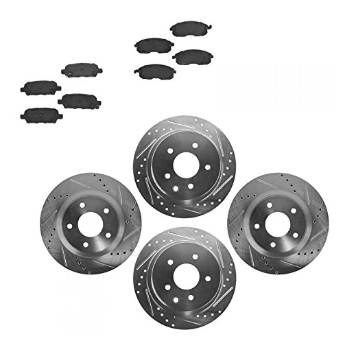Rotor & Brake Pad Ceramic Performance Drilled Slotted Front Rear (Drilled Brake Rotors Ceramic Pads)