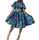 Winwinus Women Pleated African Dashiki Batik Big Pendulum Cocktail Party Dress 13 2XL