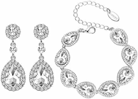 Flower Teardrop Austrian Clear/Champagne Crystal Jewelry Sets for Women or Wedding (1 Set Earring,1PCS Bracelet)