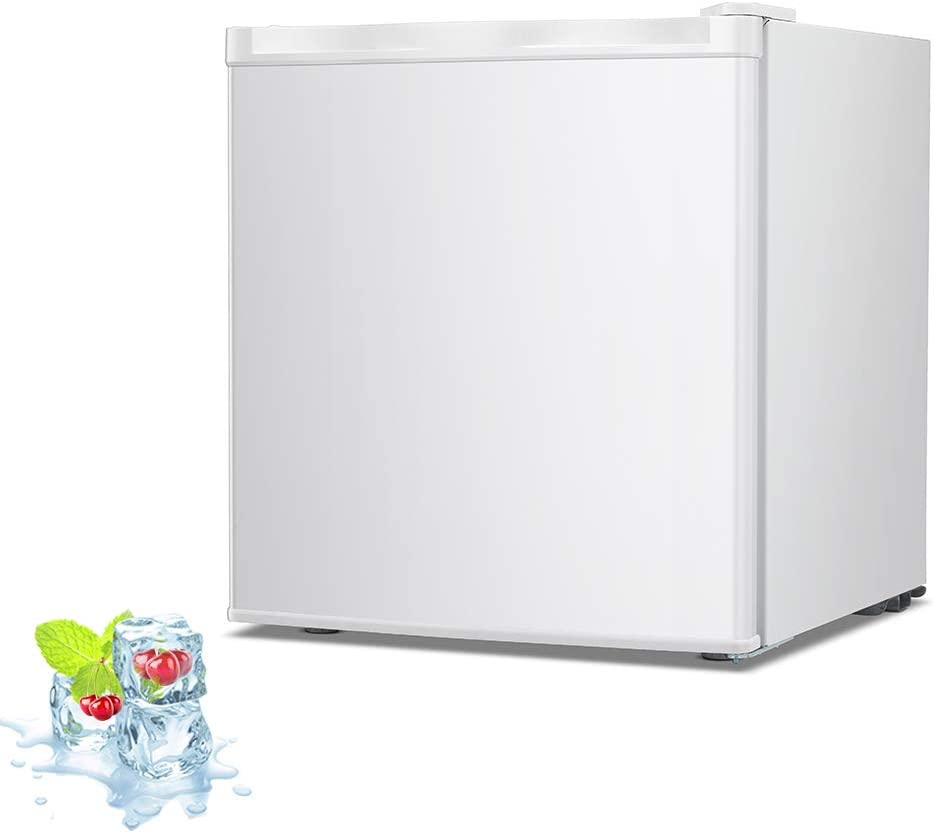 Kismile 1.1 Cu.ft Upright Freezer with Compact Reversible Single Door,Removable Shelves Free Standing Mini Freezer with Adjustable Thermostat for Home/Kitchen/Office (White, 1.1 cu.ft)