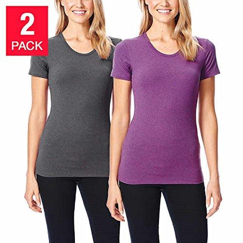 32Degrees Weatherproof Women's Short Sleeve Scoop Neck Cool Tee (Medium, Ht.Grey- HT. Purple)