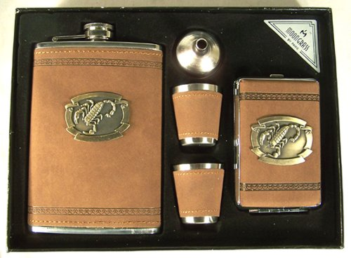 Scorpion Gift 9 Ounce Flask Set with 2 Shot Glasses, Funnel, and Cigarette Case