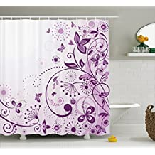 Mauve Decor Shower Curtain by Ambesonne, Curved Flower Leaf Ornate Blooming Branches Romantic Love Figures Artsy Print, Fabric Bathroom Decor Set with Hooks, 70 Inches, Violet Lilac