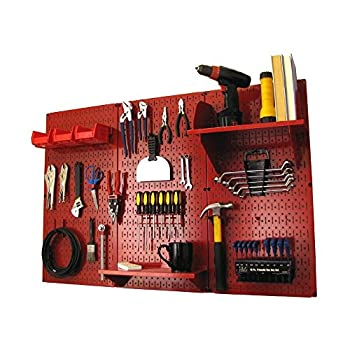Image of Wall Control Pegboard Organizer 4 ft. Metal Pegboard Standard Tool Storage Kit with Red Toolboard and Red Accessories Home and Kitchen