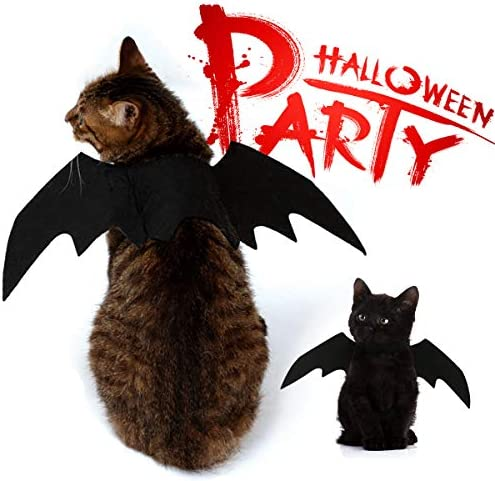Vikedi Cat Halloween Costume with Cat Collar Bow Tie, Cat Bat Wings for Halloween Party Cosplay Decoration, Pet Costumes Apparel for Cat Small Dogs 23