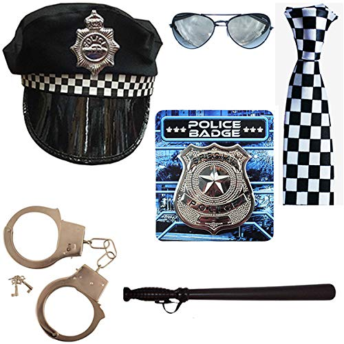 POLICE CHEQUERED BLACK AND WHITE ADJUSTABLE BRACES FANCY DRESS ACCESSORY