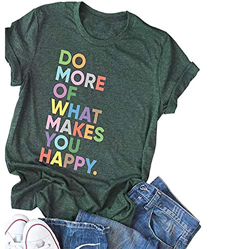 Deyuanjiagou Women's Fun Happy Graphic Tees Summer Cute Round Neck Short Sleeve Letter Printed T-Shirts ArmyGreen