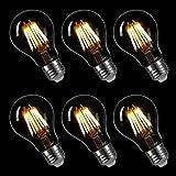 LIGHTSTORY Vintage LED Filament Bulb A19 - 6W LED Light Bulb, Medium Screw E26 Base, Clear Soft White 2700K, LED Edison Bulb 60W Equivalent, 120VAC, Non-dimmable, 6-Pack