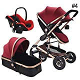 RoseSummer Baby Stroller 3 in 1 Carriage Oxford Fabric Infant Travel Car Foldable Pram Pushchair (Wine Red)