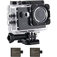 Midou M80 Sports Action Camera 16MP 4K Ultra HD Wifi Waterproof DV Camcorder 2.0 inch 170°Lens sport camera with 2Pcs 1050mAh Batteries(Black)