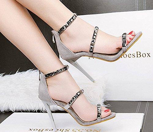Aisun Women's Stylish Studded Dressy Stiletto High Heel Zip Up Open Toe Ankle Strap Sandals Grey G9xzQ3oM2