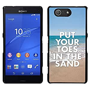 // PHONE CASE GIFT // Duro Estuche protector PC Cáscara Plástico Carcasa Funda Hard Protective Case for Sony Xperia Z3 Compact / Toes Sand Summer Sea Beach Blue Ocean /