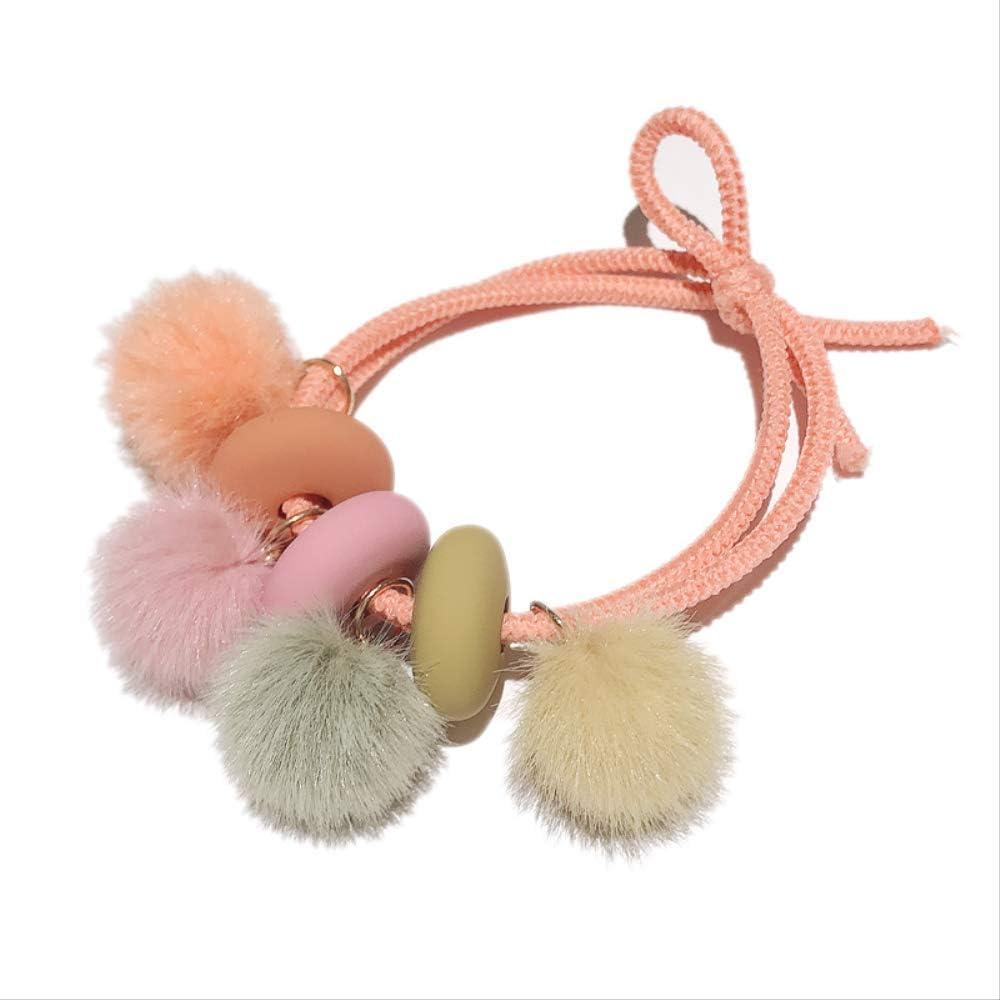 5 piezas anillo de pelo felpa cabeza de bola cuerda corbata ...