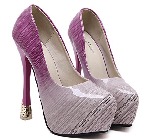 YCMDM Donne SandalsShallow Bocca gradiente impermeabili degli alti talloni pattini della principessa punta aperta banchetti Shoes , pink , 40