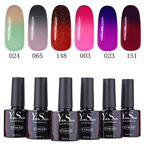 YaoShun Temperature Color Changing Gel - Gel Polish 6pcs Soak Off Nail Gel Kit Mixed Colors 10ml #001