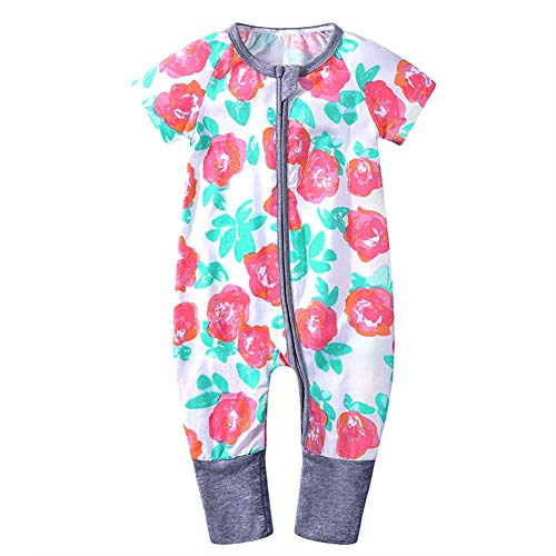 BOBORA Baby Girls Boys Romper, Infant Sleeper Floral Printed Short Sleeve Zipper Jumpsuit Footed One-Piece Outfits Pajamas