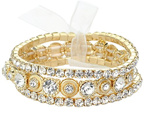 NYFASHION101 Women's Stone Stud 3 Piece Stackable Stretch Bracelet, Clear/Gold-Tone
