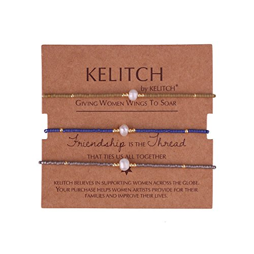 (KELITCH 3 Pcs Shell Pearl Seed Beads Friendship Bracelets Handmade Adjustable String Bracelet #D)