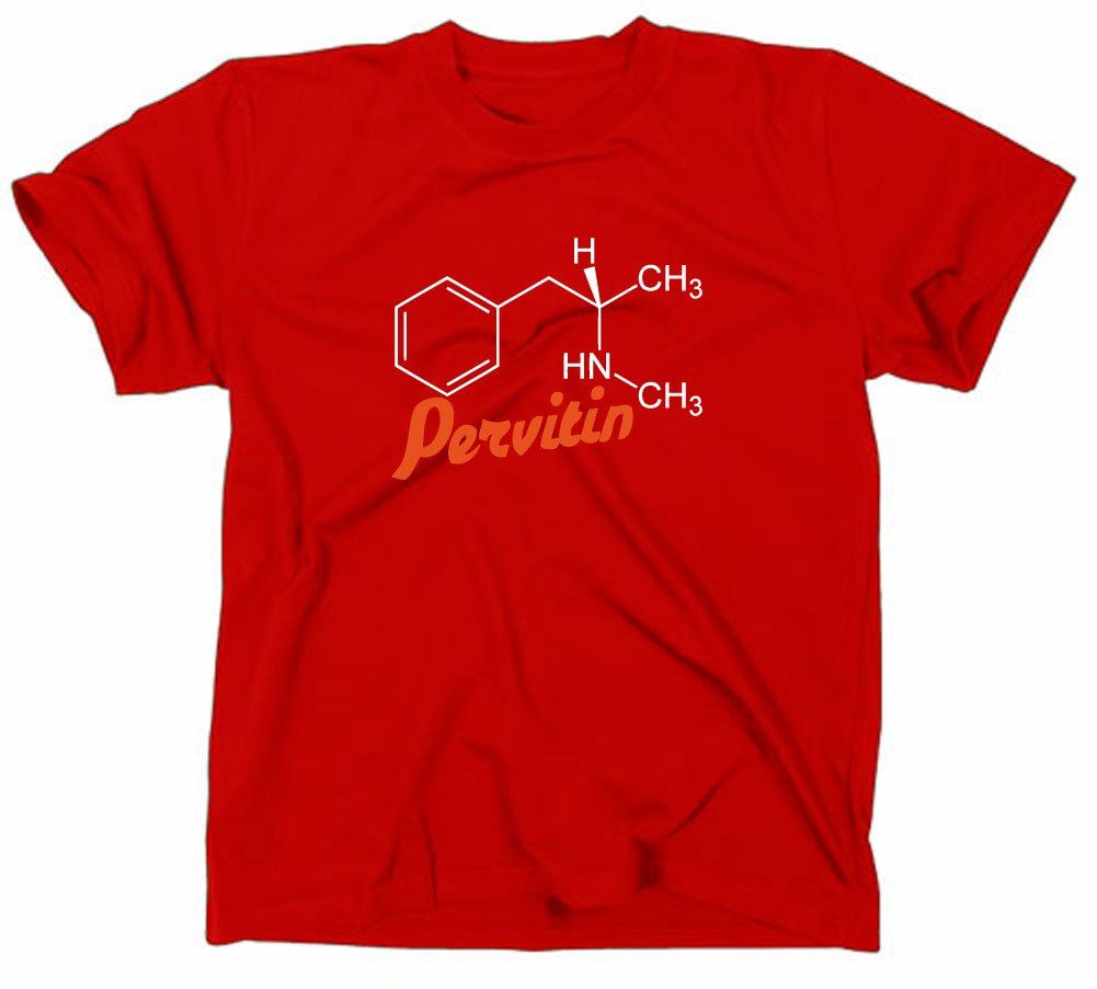 dd9d7be99 Amazon.com : #2 Crystal Meth Pervitin T-Shirt, cook, breaking bad,  heisenberg, molecule, L, rot : Sports & Outdoors