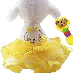Hqclothingbox Pet Cat Princess Tutu Dress Doggie Print Bubble Skirt Puppy Clothes Dog Dress Clothes Apparel Yellow