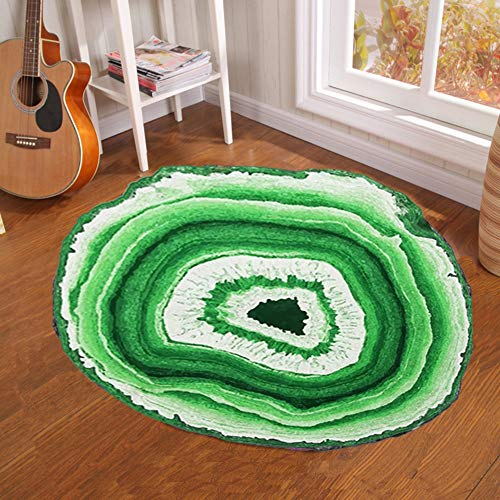 Round Carpet - Creative Tree Pier Print Round Carpet Mat Bedroom Bedside Living Room Coffee Table Hanging Basket Computer Chair Anti-Slip Mat, 100100CM (Basket Chairs One Pier)